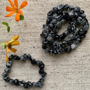 Snow Flake Obsidian Tumbled Stone Bracelet | Natural genuine Obsidian bracelets. Buy crystal jewelry, handmade handcrafted artisan jewelry for women.  Unique handmade gift ideas. #jewelry #beadedbracelets #beadedjewelry #gift #shopping #handmadejewelry #fashion #style #product #bracelets #affiliate #ad