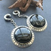 Obsidian Ear Hangers, Golden Obsidian Ear Weights, ear Weights, dangle Ear Hanger, guage Earring   Natural genuine Gemstone jewelry. Buy crystal jewelry, handmade handcrafted artisan jewelry for women.  Unique handmade gift ideas. #jewelry #beadedjewelry #beadedjewelry #gift #shopping #handmadejewelry #fashion #style #product #jewelry #affiliate #ad