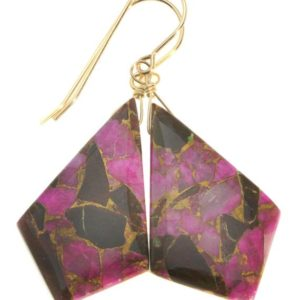 Shop Obsidian Earrings! Pink Copper Mosaic Obsidian Earrings Smooth Teardrop  Drops Sterling Silver or 14k Solid Gold or Filled Triangle Point Hot Pink Unique   Natural genuine Obsidian earrings. Buy crystal jewelry, handmade handcrafted artisan jewelry for women.  Unique handmade gift ideas. #jewelry #beadedearrings #beadedjewelry #gift #shopping #handmadejewelry #fashion #style #product #earrings #affiliate #ad