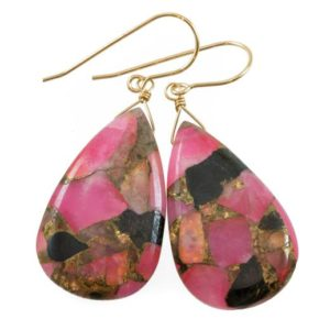 Shop Obsidian Earrings! Pink Copper Obsidian Earrings Smooth X Large Mosaic Teardrop  Drop Sterling Silver or 14k Solid Gold or Filled Earrings Hot Pink Long 2 In   Natural genuine Obsidian earrings. Buy crystal jewelry, handmade handcrafted artisan jewelry for women.  Unique handmade gift ideas. #jewelry #beadedearrings #beadedjewelry #gift #shopping #handmadejewelry #fashion #style #product #earrings #affiliate #ad