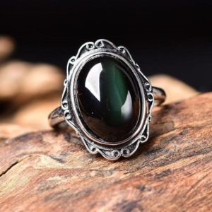 Obsidian Ring-Natural Obsidian Healing Balancing Stone Ring-Energy Protection Meditation Ring-Spiritual Obsidian Ring Jewelry Gift | Natural genuine Array rings, simple unique handcrafted gemstone rings. #rings #jewelry #shopping #gift #handmade #fashion #style #affiliate #ad