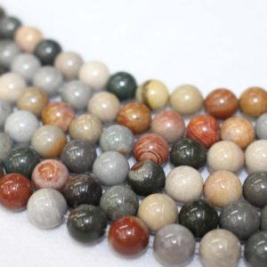 """Shop Ocean Jasper Round Beads! 4mm-12mm Natural Ocean Jasper  Smooth Round Beads, Ocean Jasper Beads Wholesale supply.15"""" strand 