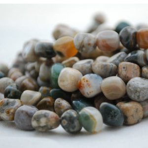 """Shop Ocean Jasper Chip & Nugget Beads! High Quality Grade A Natural Ocean Jasper Semi-precious Gemstone Pebble Tumbled Stone Nugget Beads Approx 7mm-10mm – 15"""" Strand 