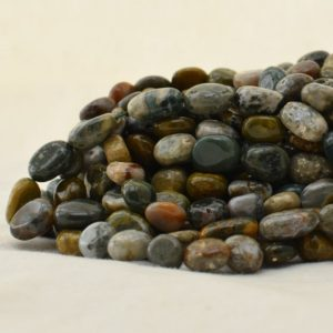 """Shop Ocean Jasper Chip & Nugget Beads! High Quality Grade A Natural Ocean Jasper Semi-precious Gemstone Tumbled Stone Nugget Pebble Beads – Approx 10mm – 12mm – 15.5"""" Strand 