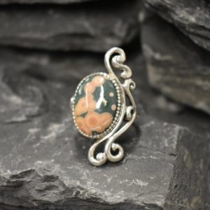 Shop Ocean Jasper Rings! Ocean Jasper Ring, Antique Ring, Natural Jasper Ring, Long Ring, Statement Ring, Artisan Ring, Vintage Ring, Ornament Ring, 925 Silver Ring | Natural genuine Ocean Jasper rings, simple unique handcrafted gemstone rings. #rings #jewelry #shopping #gift #handmade #fashion #style #affiliate #ad
