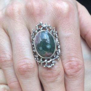 Shop Ocean Jasper Rings! Ocean Jasper Ring, Natural Ocean Jasper, Vintage Ring, Statement Ring, Green Ring, Chunky Ring, Artistic Ring, Large Ring, Solid Silver Ring | Natural genuine Ocean Jasper rings, simple unique handcrafted gemstone rings. #rings #jewelry #shopping #gift #handmade #fashion #style #affiliate #ad