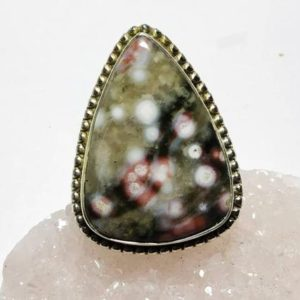 Shop Ocean Jasper Rings! Ocean Jasper ring,92.5 Sterling silver jewellery, natural stone, silver ring | Natural genuine Ocean Jasper rings, simple unique handcrafted gemstone rings. #rings #jewelry #shopping #gift #handmade #fashion #style #affiliate #ad