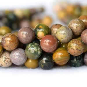 """15.5"""" 6mm / 8mm / 10mm Natural Ocean Jasper Round Beads, Natural Yellow Green Gemstone, Semi-precious Stone, Gemstone Wholesaler 