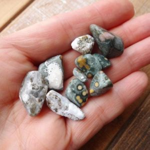 Shop Tumbled Ocean Jasper Crystals & Pocket Stones! Set of 10 Ocean Jasper tumbled stones 10-23mm | Natural genuine stones & crystals in various shapes & sizes. Buy raw cut, tumbled, or polished gemstones for making jewelry or crystal healing energy vibration raising reiki stones. #crystals #gemstones #crystalhealing #crystalsandgemstones #energyhealing #affiliate #ad