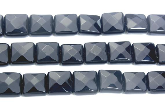 Faceted Square Onyx Beads - Natural Black Onyx Pillow Beads - Black Gemstone Jewellery Beads - Black Beads For Bracelet Making -15inch