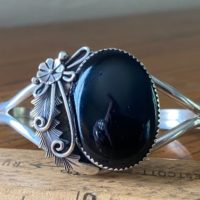 Navajo Peterson Johnson Onyx Squash Blossom Cuff | Natural genuine Gemstone jewelry. Buy crystal jewelry, handmade handcrafted artisan jewelry for women.  Unique handmade gift ideas. #jewelry #beadedjewelry #beadedjewelry #gift #shopping #handmadejewelry #fashion #style #product #jewelry #affiliate #ad