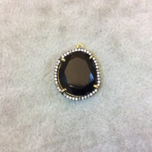 Shop Onyx Faceted Beads! Gold Finish Faceted CZ Rimmed Transparent Black Onyx Freeform Pear Shaped Bezel Pendant – Measures 17mm x 18mm – Sold Individually | Natural genuine faceted Onyx beads for beading and jewelry making.  #jewelry #beads #beadedjewelry #diyjewelry #jewelrymaking #beadstore #beading #affiliate #ad
