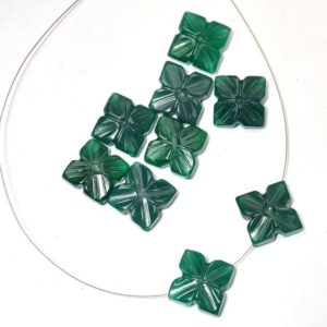 Green Onyx Flower Carving Loose Beads | 12x12mm Gemstone Flower | AAA+ Onyx Semi Precious Loose Gemstone Rare Fancy Beads for Jewelry Making | Natural genuine other-shape Gemstone beads for beading and jewelry making.  #jewelry #beads #beadedjewelry #diyjewelry #jewelrymaking #beadstore #beading #affiliate #ad
