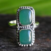 925 Silver Natural Green Onyx Ring-green Onyx Ring-onyx Ring-double Green Onyx Ring-natural Onyx Ring-handmade Ring-ring For Women | Natural genuine Gemstone jewelry. Buy crystal jewelry, handmade handcrafted artisan jewelry for women.  Unique handmade gift ideas. #jewelry #beadedjewelry #beadedjewelry #gift #shopping #handmadejewelry #fashion #style #product #jewelry #affiliate #ad