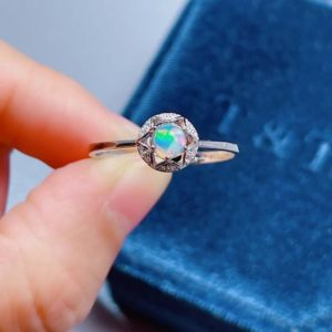 Raw Opal Stone Ring, Colorful Fire Opal Ring, Silver Halo Gemstone Rings for Women, Anniversary Ring, Star Promise Ring, Engagement Ring | Natural genuine Gemstone rings, simple unique alternative gemstone engagement rings. #rings #jewelry #bridal #wedding #jewelryaccessories #engagementrings #weddingideas #affiliate #ad