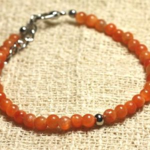 Shop Orange Calcite Bracelets! Orange bracelet 925 sterling silver and semi precious Calcite stone 4 mm | Natural genuine Orange Calcite bracelets. Buy crystal jewelry, handmade handcrafted artisan jewelry for women.  Unique handmade gift ideas. #jewelry #beadedbracelets #beadedjewelry #gift #shopping #handmadejewelry #fashion #style #product #bracelets #affiliate #ad