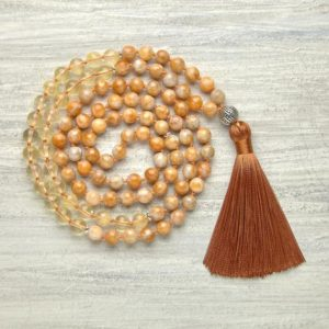 Orange Calcite & Citrine mala beads 108 mala necklace Prayer beads Yoga gifts for Meditation necklace Success jewelry Tassel bead necklace | Natural genuine Gemstone necklaces. Buy crystal jewelry, handmade handcrafted artisan jewelry for women.  Unique handmade gift ideas. #jewelry #beadednecklaces #beadedjewelry #gift #shopping #handmadejewelry #fashion #style #product #necklaces #affiliate #ad
