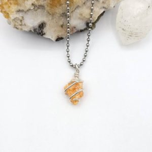 Orange Calcite Necklace, Crystal Healing Jewelry, Silver Wire Wrapped Pendant | Natural genuine Gemstone pendants. Buy crystal jewelry, handmade handcrafted artisan jewelry for women.  Unique handmade gift ideas. #jewelry #beadedpendants #beadedjewelry #gift #shopping #handmadejewelry #fashion #style #product #pendants #affiliate #ad