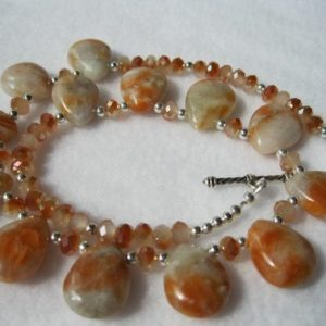 Shop Orange Calcite Jewelry! Orange Fire Calcite Tear Drops Necklace | Natural genuine Orange Calcite jewelry. Buy crystal jewelry, handmade handcrafted artisan jewelry for women.  Unique handmade gift ideas. #jewelry #beadedjewelry #beadedjewelry #gift #shopping #handmadejewelry #fashion #style #product #jewelry #affiliate #ad