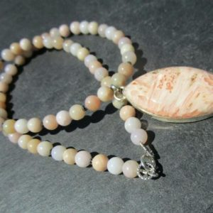 Shop Scolecite Necklaces! orange Scolecite pink Andean Opal Necklace | Natural genuine Scolecite necklaces. Buy crystal jewelry, handmade handcrafted artisan jewelry for women.  Unique handmade gift ideas. #jewelry #beadednecklaces #beadedjewelry #gift #shopping #handmadejewelry #fashion #style #product #necklaces #affiliate #ad