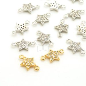 Shop Jewelry Connectors! PD-1577-OP / 2 Pcs – Curved Star Connector, Two Loops CZ Starfish Pendant, Choose Color / 12×7.4mm   Shop jewelry making and beading supplies, tools & findings for DIY jewelry making and crafts. #jewelrymaking #diyjewelry #jewelrycrafts #jewelrysupplies #beading #affiliate #ad
