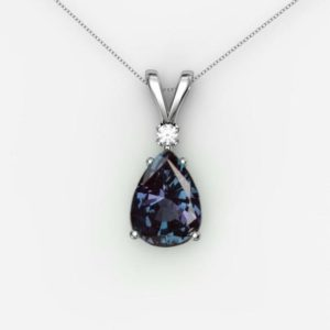 Shop Alexandrite Necklaces! Pear Alexandrite Necklace For Women- Color Changing Gemstone Pendant- Alexandrite Pendant in 925 Sterling Silver- Lab Alexandite Pendant | Natural genuine Alexandrite necklaces. Buy crystal jewelry, handmade handcrafted artisan jewelry for women.  Unique handmade gift ideas. #jewelry #beadednecklaces #beadedjewelry #gift #shopping #handmadejewelry #fashion #style #product #necklaces #affiliate #ad