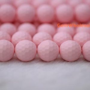 """15.5"""" 8mm / 10mm Matte Shell Pearl Round Faceted Beads Light Pink Color, Matte Pink Shell Pearl, Jewelry Supply, Hjf2 