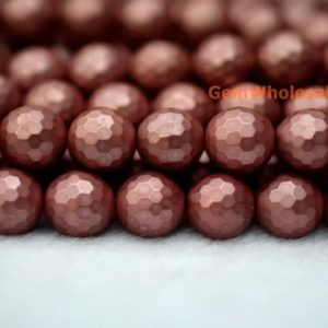 """15.5"""" 8mm / 10mm Shell Pearl Round Faceted Beads Dark Red Color, dark Red Shell Pearl, Jewelry Supply, Hjf3 