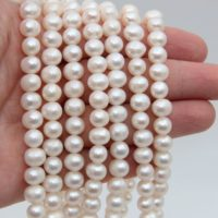7~8mm Aa Round Potato Pearl Beads, pearl Strand Beads, freshwater Pearl Necklaces Beads, genuine White Pearl Beads, freshwater Pearl Wholesale. | Natural genuine Gemstone jewelry. Buy crystal jewelry, handmade handcrafted artisan jewelry for women.  Unique handmade gift ideas. #jewelry #beadedjewelry #beadedjewelry #gift #shopping #handmadejewelry #fashion #style #product #jewelry #affiliate #ad