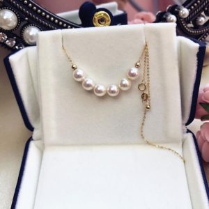 Shop Pearl Necklaces! Akoya Pearl Smile Necklace, 6.5-7mm AAA+ Pearl Choker Necklace, 18K Solid Gold, Seawater Pearl Jewelry, June Birthstone, Wedding Gift | Natural genuine Pearl necklaces. Buy handcrafted artisan wedding jewelry.  Unique handmade bridal jewelry gift ideas. #jewelry #beadednecklaces #gift #crystaljewelry #shopping #handmadejewelry #wedding #bridal #necklaces #affiliate #ad