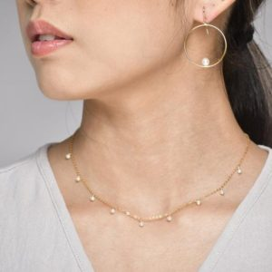 Shop Pearl Necklaces! Freshwater Pearl Necklace, June Birthstone / Handmade Jewelry / Classic Bridal Necklace / Simple Gold Necklace, Layered Necklace, Delicate | Natural genuine Pearl necklaces. Buy handcrafted artisan wedding jewelry.  Unique handmade bridal jewelry gift ideas. #jewelry #beadednecklaces #gift #crystaljewelry #shopping #handmadejewelry #wedding #bridal #necklaces #affiliate #ad