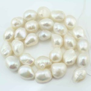 Shop Pearl Bead Shapes! AA12-15mm Baroque Pearl Beads,Freshwater Natural Pearl Beads,White Pearl Beads,One Full Strand,Gemstone Beads–28 Pieces—15.5 inches-FS100 | Natural genuine other-shape Pearl beads for beading and jewelry making.  #jewelry #beads #beadedjewelry #diyjewelry #jewelrymaking #beadstore #beading #affiliate #ad