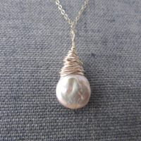 Pearl Necklace, Wire Wrapped Pearl Pendant, Silver Pearl Tear Drop | Natural genuine Gemstone jewelry. Buy crystal jewelry, handmade handcrafted artisan jewelry for women.  Unique handmade gift ideas. #jewelry #beadedjewelry #beadedjewelry #gift #shopping #handmadejewelry #fashion #style #product #jewelry #affiliate #ad