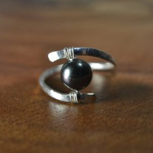 Shop Pearl Rings! Genuine Tahitian Pearl Ring in Sterling Silver, 14k Gold // Black Pearl // June Birthstone // Wire Wrapped Gemstone Ring // Bohochic Pearl | Natural genuine Pearl rings, simple unique handcrafted gemstone rings. #rings #jewelry #shopping #gift #handmade #fashion #style #affiliate #ad