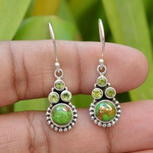 Shop Peridot Earrings! Green Copper Turquoise Earrings | Oxidized Earring | 925 Silver Earrings | 7mm Round Turquoise Earrings | 3mm Round Peridot Gemstone Earring | Natural genuine Peridot earrings. Buy crystal jewelry, handmade handcrafted artisan jewelry for women.  Unique handmade gift ideas. #jewelry #beadedearrings #beadedjewelry #gift #shopping #handmadejewelry #fashion #style #product #earrings #affiliate #ad