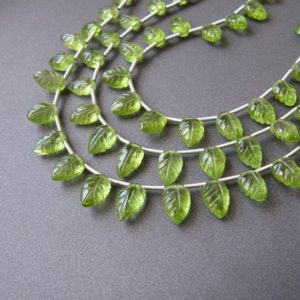 Peridot carved leaves • AAA hand carving leaf drops • Natural gemstone drop briolettes • Spring green • August birthstone | Natural genuine other-shape Gemstone beads for beading and jewelry making.  #jewelry #beads #beadedjewelry #diyjewelry #jewelrymaking #beadstore #beading #affiliate #ad