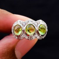 Handmade Peridot Ring, Aaa+ Grade Peridot Natural Gemstone Ring, Bezel Ring, Three Stone Ring, 925 Sterling Silver Ring, Vintage Style Ring   Natural genuine Gemstone jewelry. Buy crystal jewelry, handmade handcrafted artisan jewelry for women.  Unique handmade gift ideas. #jewelry #beadedjewelry #beadedjewelry #gift #shopping #handmadejewelry #fashion #style #product #jewelry #affiliate #ad