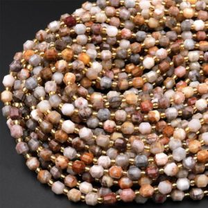 """Shop Pietersite Beads! Natural Pietersite 6mm Beads Faceted Energy Prism Double Terminated Point Cut 15.5"""" Strand 
