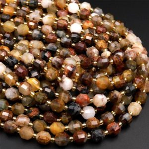 """Shop Pietersite Beads! Natural Pietersite 8mm 10mm Beads Faceted Energy Prism Double Terminated Point Cut 15.5"""" Strand 