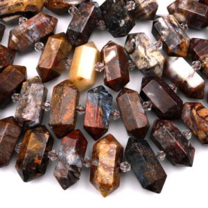 """Shop Pietersite Beads! Natural Pietersite Beads Faceted Double Terminated Points Drilled Real Genuine Gemstone Focal Pendant 15.5"""" Strand 