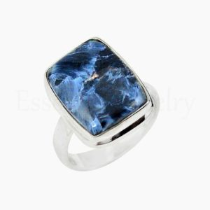 Shop Pietersite Rings! Blue Pietersite Ring, Women's Jewelry, 925 Sterling Silver, Cushion Gemstone, Bohemian Ring, Simple Band Ring, Cabochon Stone, Gift Jewelry | Natural genuine Pietersite rings, simple unique handcrafted gemstone rings. #rings #jewelry #shopping #gift #handmade #fashion #style #affiliate #ad