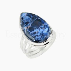 Shop Pietersite Rings! Cute Pietersite Ring, Women's Jewelry, 925 Sterling Silver, Pear Gemstone, Bohemian Ring, Triple Band Ring, Cabochon Stone, Gift Jewerly | Natural genuine Pietersite rings, simple unique handcrafted gemstone rings. #rings #jewelry #shopping #gift #handmade #fashion #style #affiliate #ad