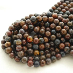 """Shop Pietersite Beads! High Quality Grade A Natural African Blue Pietersite Semi-precious Gemstone Round Beads – 4mm, 6mm, 8mm, 10mm sizes – Approx 15.5"""" strand 