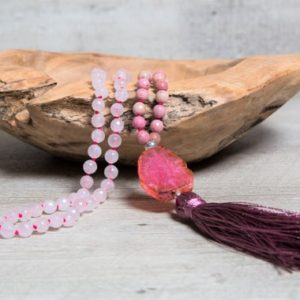 Shop Rhodochrosite Necklaces! Pink Rhodochrosite n' Rose Quartz Mala, Raw Agate Guru Bead, Handmade Rayon Tassel,Boho Necklace, 2nd Anniversary Gift for Her | Natural genuine Rhodochrosite necklaces. Buy crystal jewelry, handmade handcrafted artisan jewelry for women.  Unique handmade gift ideas. #jewelry #beadednecklaces #beadedjewelry #gift #shopping #handmadejewelry #fashion #style #product #necklaces #affiliate #ad