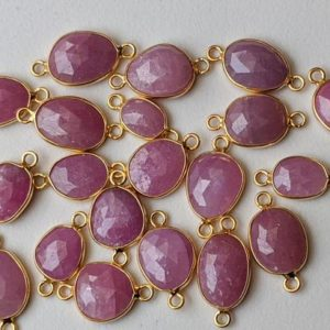 Shop Pink Sapphire Stones & Crystals! 14-16mm Pink Sapphire Rose Cut Free Form Shape Connectors, 5 Pcs Double Loop 925 Silver with Gold Polish, Bezel Findings – PDG258 | Natural genuine stones & crystals in various shapes & sizes. Buy raw cut, tumbled, or polished gemstones for making jewelry or crystal healing energy vibration raising reiki stones. #crystals #gemstones #crystalhealing #crystalsandgemstones #energyhealing #affiliate #ad