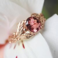 Pink Tourmaline Engagement Ring, Rose Gold Ring, Leaves Ring, Unique Ring For Woman, Branch Ring, Leaf Engagement, Twig Wedding Band | Natural genuine Gemstone jewelry. Buy handcrafted artisan wedding jewelry.  Unique handmade bridal jewelry gift ideas. #jewelry #beadedjewelry #gift #crystaljewelry #shopping #handmadejewelry #wedding #bridal #jewelry #affiliate #ad