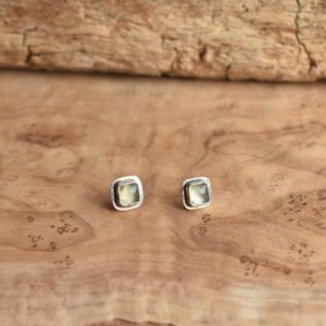 Shop Prehnite Earrings! Santa Fe Prehnite Posts – Square Prehnite Studs – Sterling Silver Posts – Silversmith | Natural genuine Prehnite earrings. Buy crystal jewelry, handmade handcrafted artisan jewelry for women.  Unique handmade gift ideas. #jewelry #beadedearrings #beadedjewelry #gift #shopping #handmadejewelry #fashion #style #product #earrings #affiliate #ad