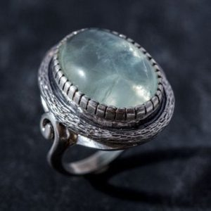 Shop Prehnite Rings! Large Prehnite Ring, Natural Prehnite, Statement Ring, May Birthstone, Vintage Ring, May Ring, Big Stone Ring, Solid Silver Ring, Prehnite | Natural genuine Prehnite rings, simple unique handcrafted gemstone rings. #rings #jewelry #shopping #gift #handmade #fashion #style #affiliate #ad