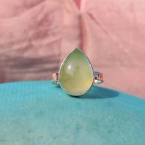 Shop Prehnite Rings! Light Green Prehnite Ring, Ring for Special One, 925 Sterling Silver Ring, Pear Prehnite Gemstone Ring, Simple Band Ring, Gift For Mom, Sale | Natural genuine Prehnite rings, simple unique handcrafted gemstone rings. #rings #jewelry #shopping #gift #handmade #fashion #style #affiliate #ad