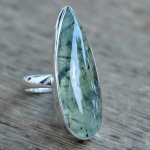 Shop Prehnite Rings! Rutilated Prehnite ring, Sterling silver Jewelry, Natural Green rutilated prehnite, Statement ring | Natural genuine Prehnite rings, simple unique handcrafted gemstone rings. #rings #jewelry #shopping #gift #handmade #fashion #style #affiliate #ad